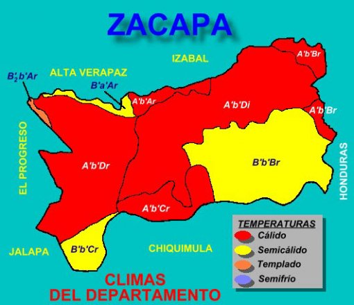Zacapa Mapa Climatolgico Guatemala